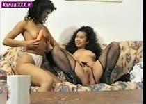Thaise lesbi teefjes spelen met vibrator terwijl hollander toe kijkt